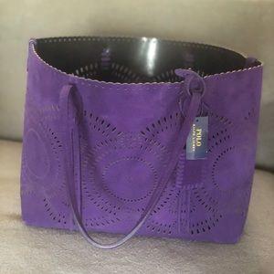 Ralph Lauren Large Purple Suede Tote - Brand New